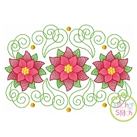 Super Swirly Poinsettia Trio Sketch Embroidery