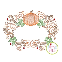 Super Swirly Pumpkin Frame Sketch Embroidery