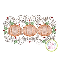 Super Swirly Pumpkin Trio Sketch Embroidery