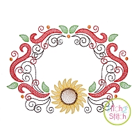 Super Swirly Sunflower Frame Sketch Embroidery