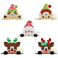 Surprised Christmas Peeker Applique Design Set