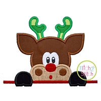 Surprised Reindeer Boy Peeker Applique