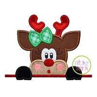 Surprised Reindeer Girl Peeker Applique