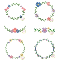 Sweet Floral Frames Embroidery Design Set