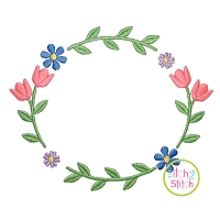 Sweet Tulip Frame Embroidery Design