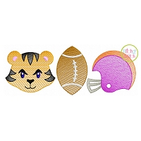 Tiger Football Trio Sketch Embroidery
