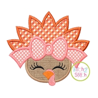 Turkey Face Bow Applique