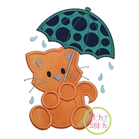 Umbrella Cat Applique Design