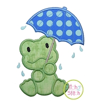 Umbrella Frog Applique Design