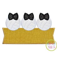 Volleyball Bow Trio Banner Applique Design