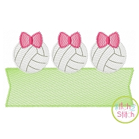 Volleyball Bow Trio Banner Sketch Embroidery Design