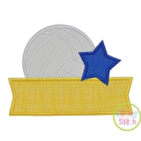 Volleyball Star Banner Applique Design