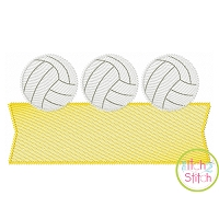Volleyball Trio Banner Sketch Embroidery Design