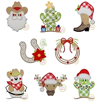 Western Christmas Applique Design Set