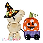 Witch Bear Wagon Applique