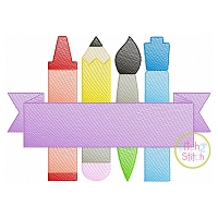 Writing Utensils Banner Sketch Embroidery
