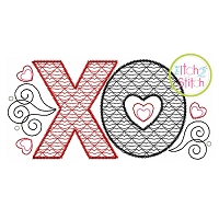 XO Lips Motif Embroidery Design