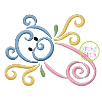 All Occasion Swirly Diaper Pin Embroidery