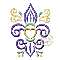 All Occasion Swirly Fleur De Lis Embroidery