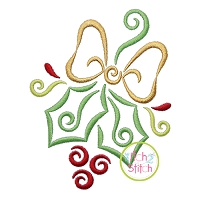All Occasion Swirly Holly Embroidery