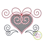 Heart Swirly Bow Applique