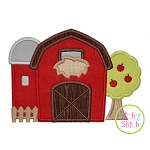 Barn with Silo and Tree Applique