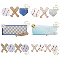Baseball  and Bats Design Set