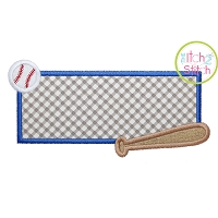 Baseball Bat Frame Applique