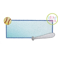 Baseball Bat Frame Sketch Embroidery