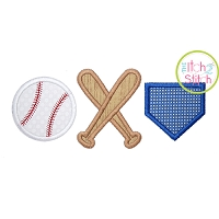 Baseball Bats Home Plate Trio Applique