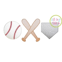 Baseball Bats Home Plate Trio Sketch Embroidery