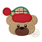 Winter Bear Face Boy Applique