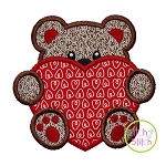 Bear With Heart Boy Applique
