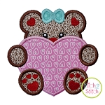 Bear With Heart Girl Applique
