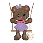Bear in the Swing Girl Applique