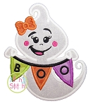 Boo Banner Ghost  Girl Applique