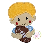 Boy Holding Football Applique