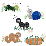 Bugs in Grass Applique Set