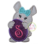 Bunny Holding Egg Girl Applique