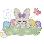 Bunny in the Grass Girl Applique