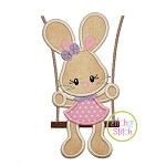 Bunny in the Swing Girl Applique