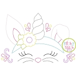 Bunny Unicorn Horn Bean Embroidery