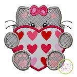 Cat With Heart Girl Applique
