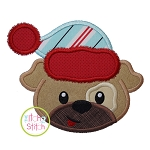 Winter Dog Face Boy Applique