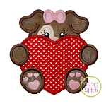 Dog With Heart Girl Applique
