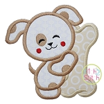 Dog Hugs Bone Applique