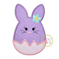 Egg Shaped Bunny Girl Applique