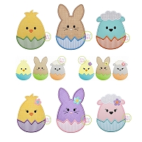 Egg Shaped Easter Animal Design Set