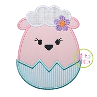 Egg Shaped Lamb Girl Applique