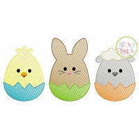 Egg Shaped Trio Boy Sketch Embroidery